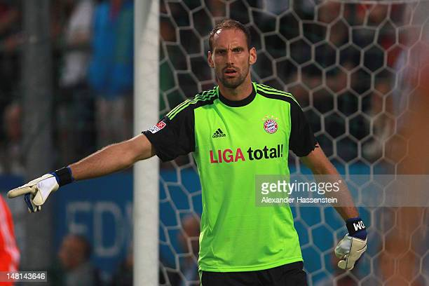 Tom Starke of Muenchen looks on during the friendly match between SpVgg Unterhaching and FC Bayern Muenchen at Sportpark Unterhaching on July 10,...
