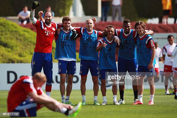 Tom Starke Thomas Mueller Arjen Robben Rafinha Jerome Boateng and Gianluca Gaudino celebrate during day 8 of the Bayern Muenchen training camp at...