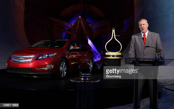 Tom Stephens vice chairman of global product operations for General Motors Co speaks during the ceremony honoring the General Motors Chevrolet Volt...