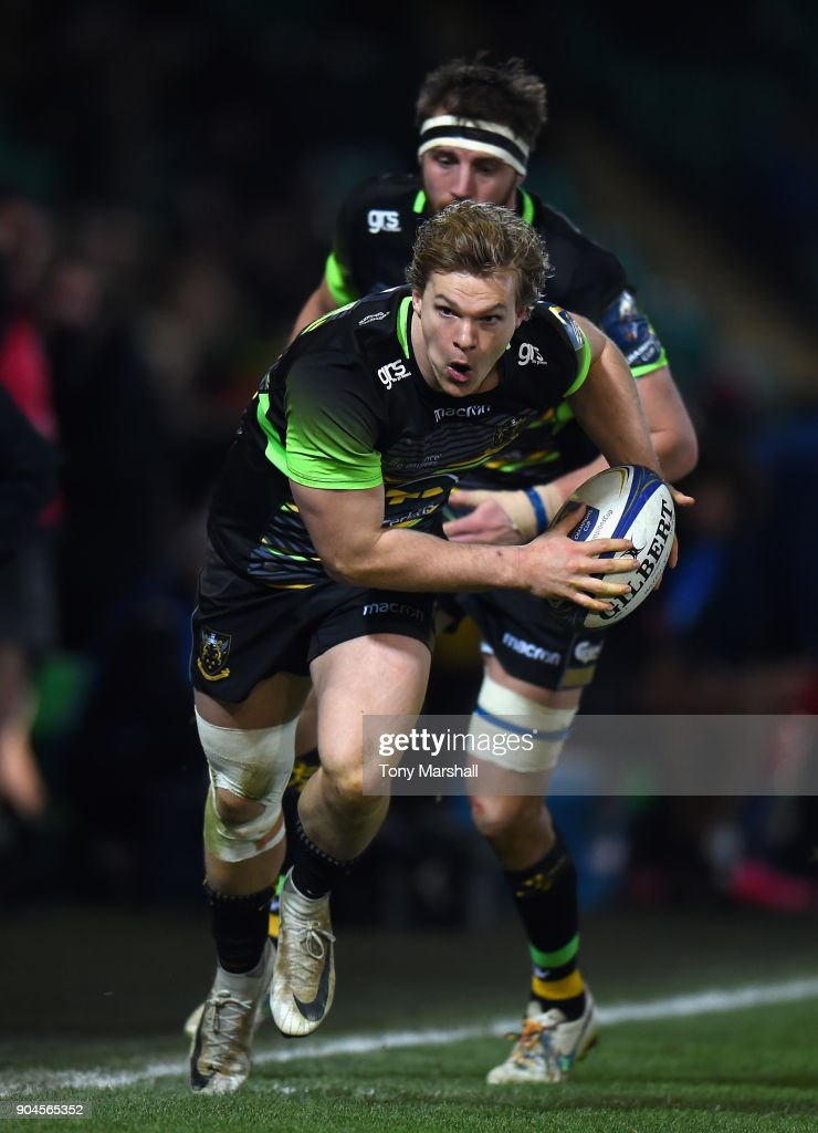 Tom Stephenson of Northampton Saints during the European Rugby Champions Cup match between Northampton Saints and ASM Clermont Auvergne at Franklin's Gardens on January 13, 2018 in Northampton, England.