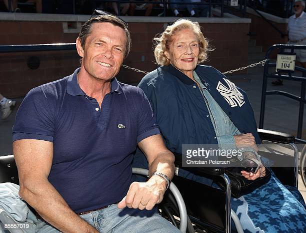 Tom Stevens and Julia Ruth Stevens daugther of Babe Ruth attend the spring training game between the Oakland Athletics and the San Diego Padres at...