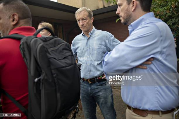 Tom Steyer a businessman and 2020 presidential candidate center waits to speak at the Des Moines Register Soapbox during the Iowa State Fair in Des...
