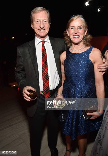 Tom Steyer and Kat Taylor attend the 7th Annual Sean Penn Friends HAITI RISING Gala benefiting J/P Haitian Relief Organization on January 6 2018 in...