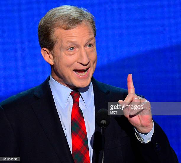 Tom Steyer cofounder of Advanced Energy Economy speaks to the delegates on the second night of the 2012 Democratic National Convention at Time Warner...