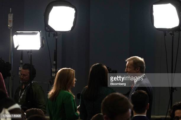 Tom Steyer cofounder of NextGen Climate Action Committee and 2020 Democratic presidential candidate right speaks to a member of the media following...