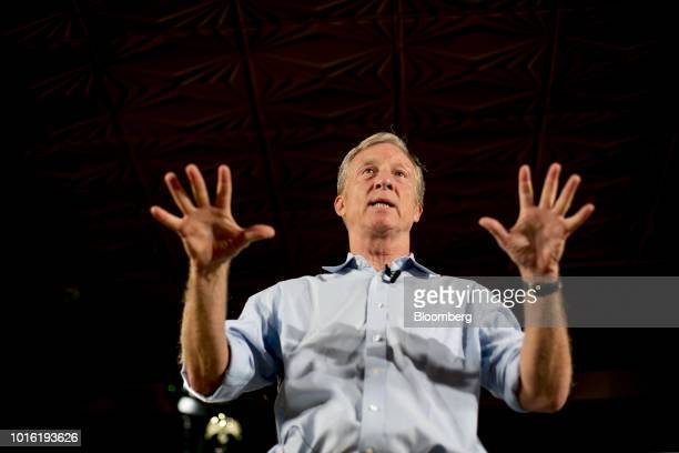 Tom Steyer cofounder of NextGen Climate Action Committee speaks during a 'Need To Impeach' event in Lansing Michigan US on Monday Aug 13 2018 Steyer...