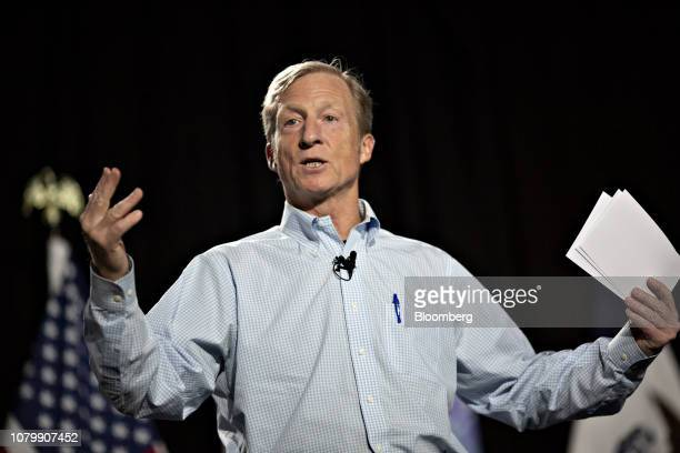 Tom Steyer cofounder of NextGen Climate Action Committee speaks during a town hall event in Ankeny Iowa on Wednesday Jan 9 2019 Steyer the...