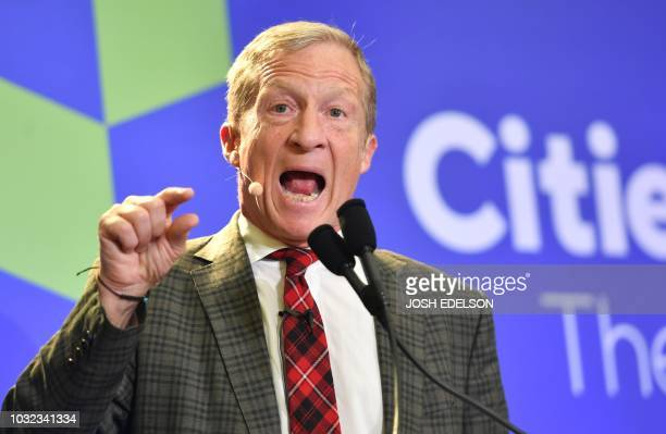 Tom Steyer Founder President of NextGen America speaks during the C40 Cities For Climate The Future Is Us kickoff event at San Francisco's City Hall...