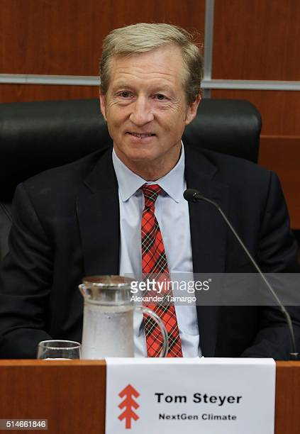 Tom Steyer is seen attending the 'Climate Change and Economic Opportunity' panel discussion at Florida International University on March 10 2016 in...
