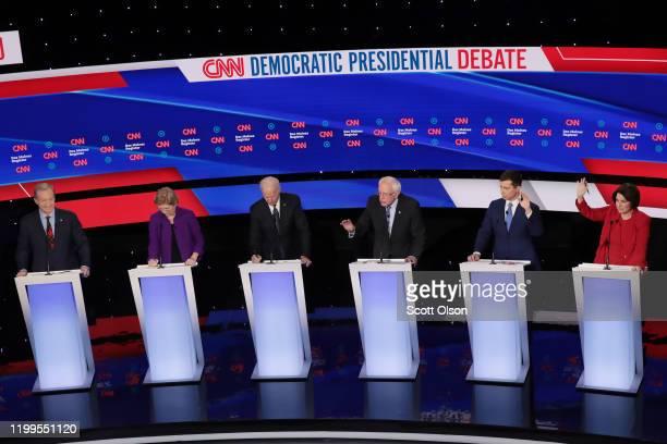 Tom Steyer , Sen. Elizabeth Warren , former Vice President Joe Biden, former South Bend, Indiana Mayor Pete Buttigieg and Sen. Amy Klobuchar listen...