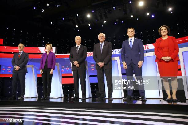 Tom Steyer Sen Elizabeth Warren former Vice President Joe Biden Sen Bernie Sanders former South Bend Indiana Mayor Pete Buttigieg and Sen Amy...