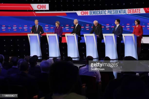 Tom Steyer speaks as Sen. Elizabeth Warren , former Vice President Joe Biden, Sen. Bernie Sanders and former South Bend, Indiana Mayor Pete Buttigieg...