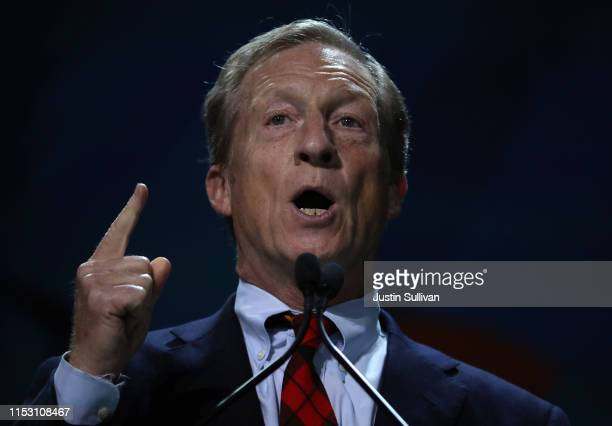 Tom Steyer speaks during the California Democrats 2019 State Convention at the Moscone Center on June 01 2019 in San Francisco California Several...