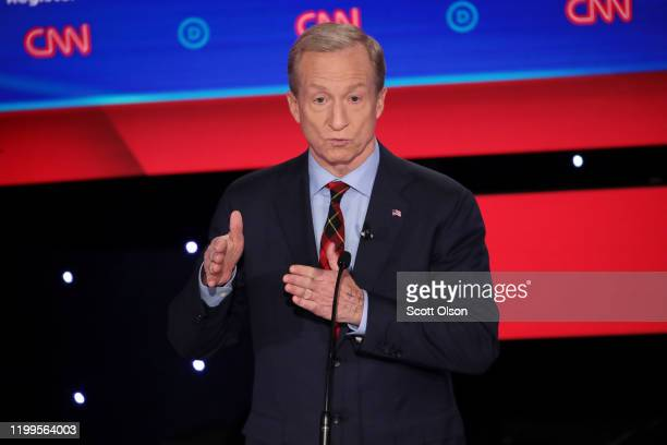 Tom Steyer speaks during the Democratic presidential primary debate at Drake University on January 14 2020 in Des Moines Iowa Six candidates out of...