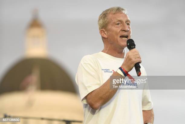 Tom Steyer speaks during the Imagine Justice concert at Capitol Mall on August 21 2017 in Sacramento California