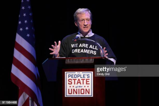 Tom Steyer speaks onstage at The People's State Of The Union at Townhall on January 29 2018 in New York City