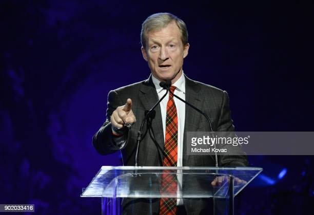 Tom Steyer speaks onstage during the 7th Annual Sean Penn Friends HAITI RISING Gala benefiting J/P Haitian Relief Organization on January 6 2018 in...
