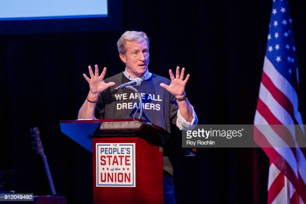 Tom Steyer speaks onstage during The People's State Of The Union at Town Hall on January 29 2018 in New York City