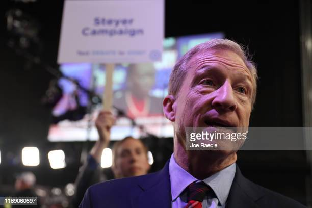 Tom Steyer speaks to the media after the Democratic Presidential Debate at Tyler Perry Studios November 20 2019 in Atlanta Georgia Ten Democratic...