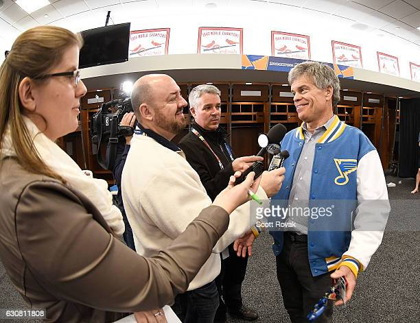 Tom Stillman Chairman and Governor of the St Louis Blues talks to media after the St Louis Blues beat the Chicago Blackhawks 41 during the 2017...