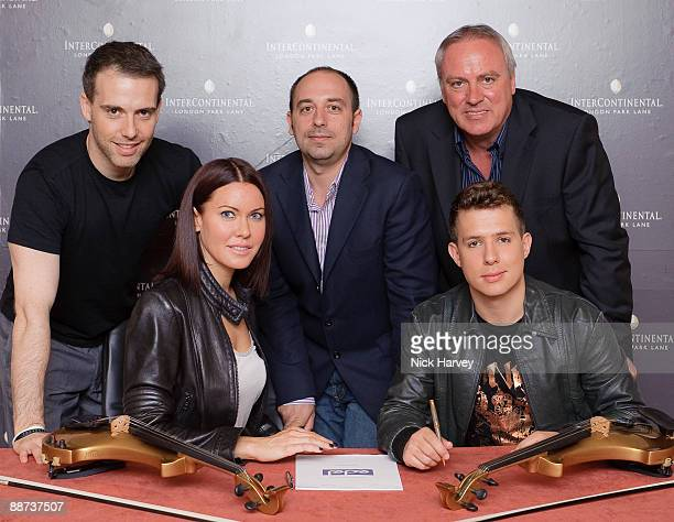 Tom Stoppard Linzi Stoppard Max Vaccaro Ben Lee and Simon Porter attend FUSE record signing deal on June 29 2009 in London England