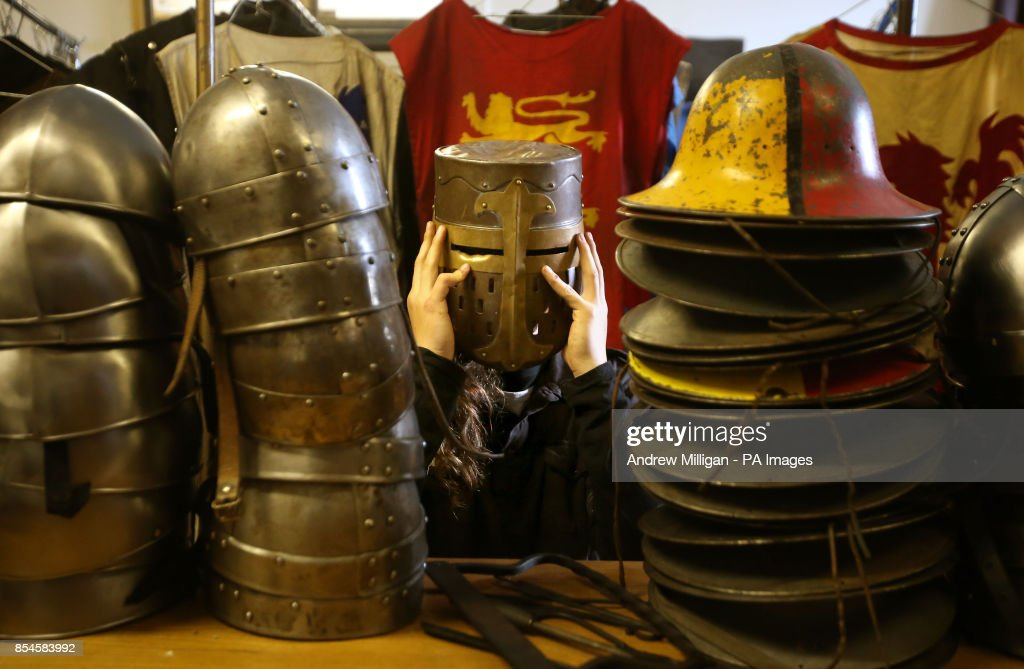 Tom Straw from the Clanranald Trust tries on a great helm