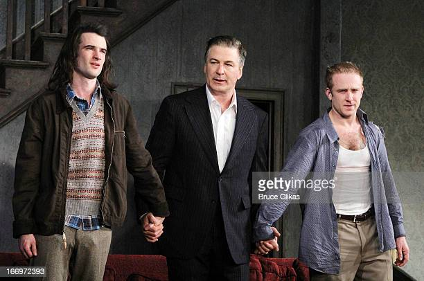 Tom Sturridge Alec Baldwin and Ben Foster take their Opening Night curtain call for 'Orphans' on Broadway at the Gerald Schoenfeld Theatre on April...