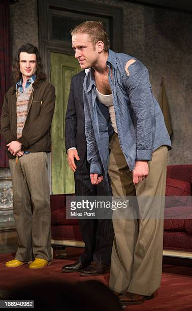 Tom Sturridge and Ben Foster perform in Orphans Broadway opening night at the Gerald Schoenfeld Theatre on April 18 2013 in New York City