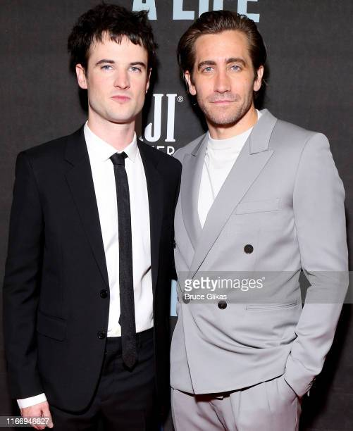 "Tom Sturridge and Jake Gyllenhaal pose at the opening night of ""Sea Wall/A Life"" on Broadway at The Hudson Theatre on August 8, 2019 in New York City."