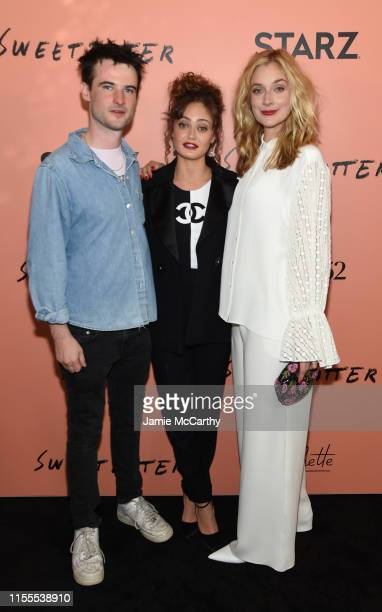 Tom Sturridge Ella Purnell and Caitlin Fitzgerald attend the Sweetbitter Season Two NY premiere on June 12 2019 at The Roxy Cinema in New York City
