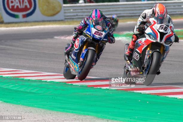 Tom Sykes of Great Britain and BMW Motorrad WorldSBK Team leads the field during the Tissot Superpole race during the FIM Superbike World...