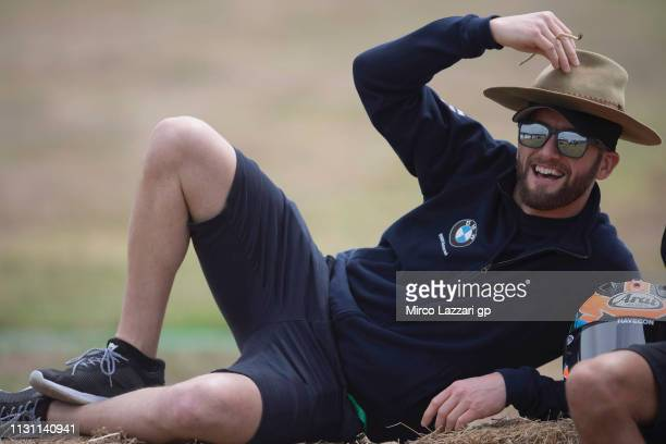 Tom Sykes of Great Britain and BMW Motorrad WorldSBK Team smiles and poses for photographers during the 2019 World Superbikes Phillip Island Previews...