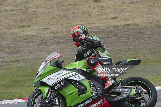 Tom Sykes of Great Britain and Kawasaki Racing Team celebrates the victory at the end of the race 1 during the FIM Superbike World Championship Race...