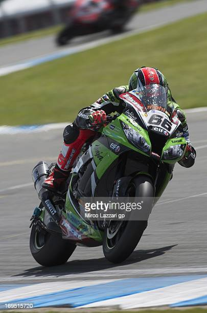 Tom Sykes of Great Britain and Kawasaki Racing Team rounds the bend during race 1 of the World Superbikes Race during the round five of 2013...