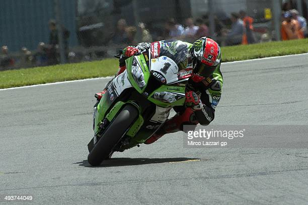 Tom Sykes of Great Britain and Kawasaki Racing Team rounds the bend during the race 1 of Superbike during FIM Superbike World Championship - Race at...