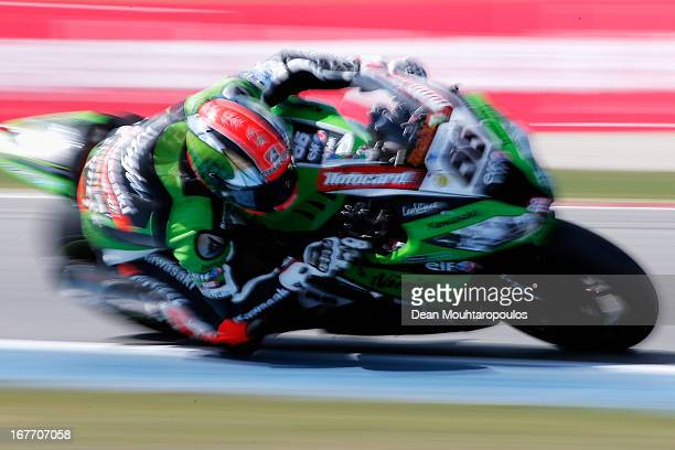 Tom Sykes of Great Britain on the Kawasaki ZX10R for Kawasaki Racing Team leads and wins the World Superbikes Race 1 at TT Circuit Assen on April 28...