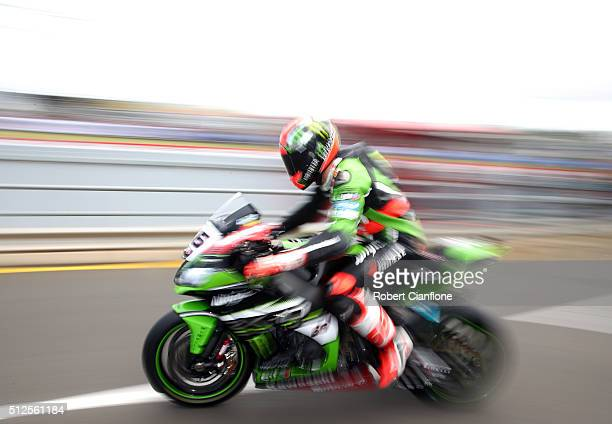 Tom Sykes of Great Britain rides the Kawasaki Racing Team Kawasaki out of pit lane during the Superpole qualifying session for race one of round one...
