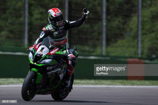 Tom Sykes of Kawasaki Racing Team greet the fans after mark the 3th time during the Superpole 2 of the Motul FIM Superbike Championship Italian Round...