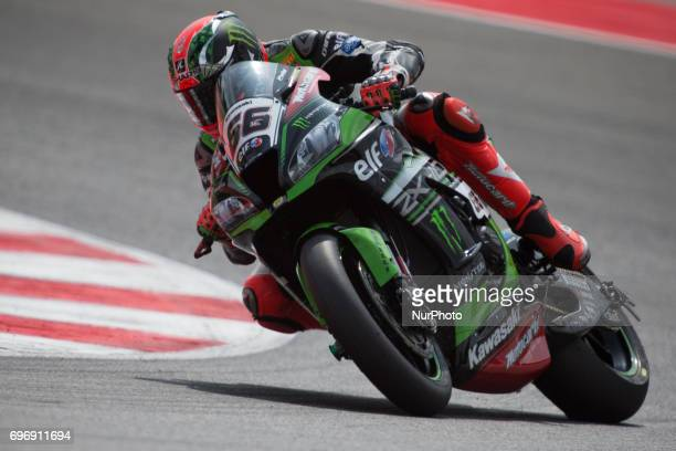 Tom Sykes of Kawasaki Racing Team mark the superpole 2 of the Motul FIM Superbike Championship Riviera di Rimini Round at Misano World Circuit...