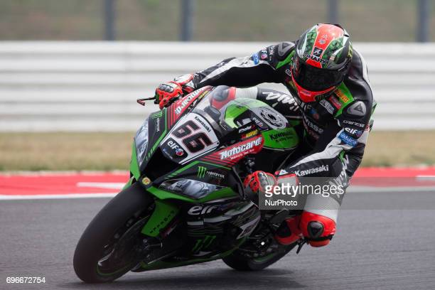 Tom Sykes of Kawasaki Racing Team mark the third time during the free practice 2 of the Motul FIM Superbike Championship Riviera di Rimini Round at...