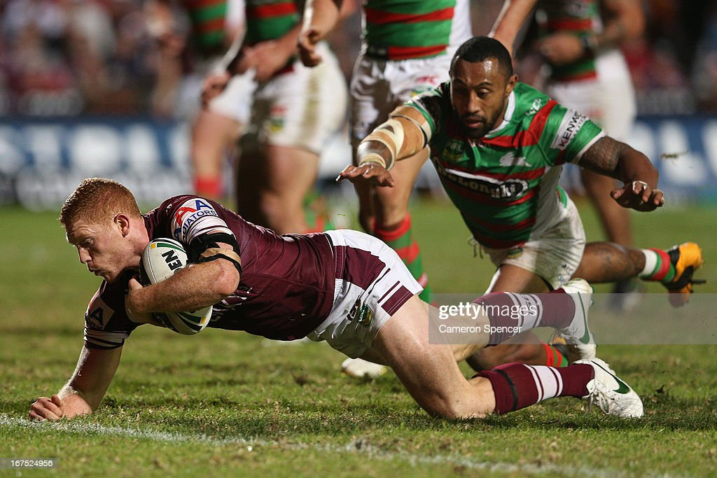 Tom Symonds of the Sea Eagles attempts to score a try unsuccessfully during the round seven NRL match between the Manly Sea Eagles and the South Sydney Rabbitohs at Brookvale Oval on April 26, 2013 in Sydney, Australia.