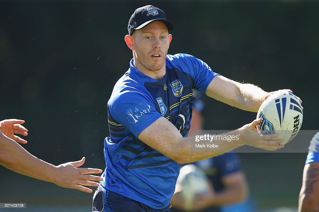 Tom Symonds shapes to pass during a City NSW Origin training session at Leichhardt Oval on May 3, 2016 in Sydney, Australia.