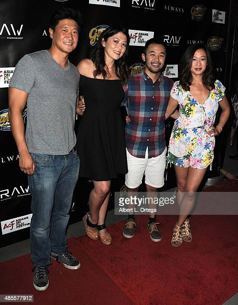 Tom T Choi Camille Chen Nate Tao and Michanne Quinney arrive for the Premiere Of Random Art Workshop's Always held at ArcLight Cinemas on August 27...