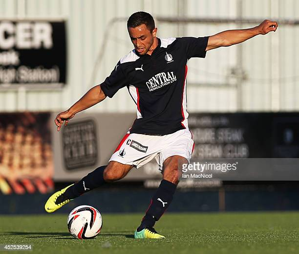 Tom Taiwo of Falkirk controls the ball during the Stirlingshire Cup Final match between Falkirk and Stirling Albion at The Falkirk Stadium on July 22...