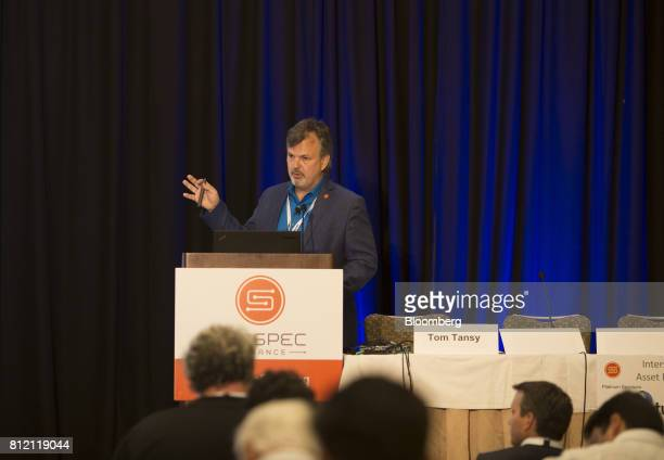 Tom Tansy, chairman of SunSpec Alliance, speaks during the Intersolar North America Conference in San Francisco, California, U.S., on Monday, July...