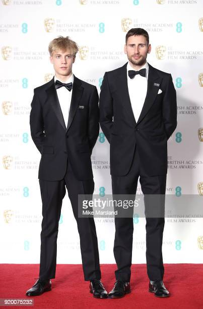 Tom Taylor and Edward Holcroft in the press room during the EE British Academy Film Awards held at Royal Albert Hall on February 18 2018 in London...
