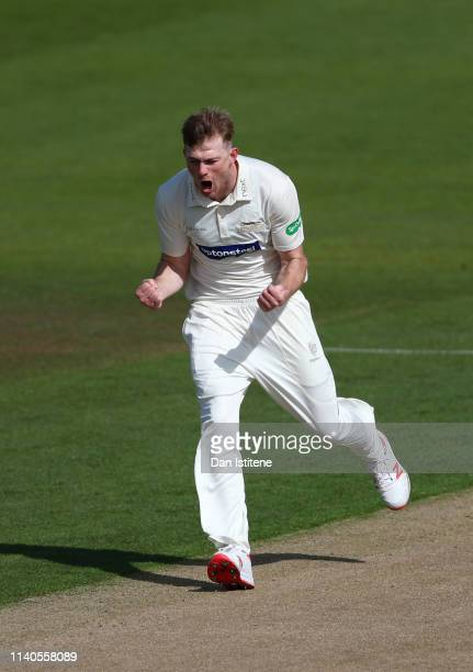 Tom Taylor of Leicestershire celebrates after claiming the wicket of Luke Wells of Sussex during the Specsavers County Championship Division Two...