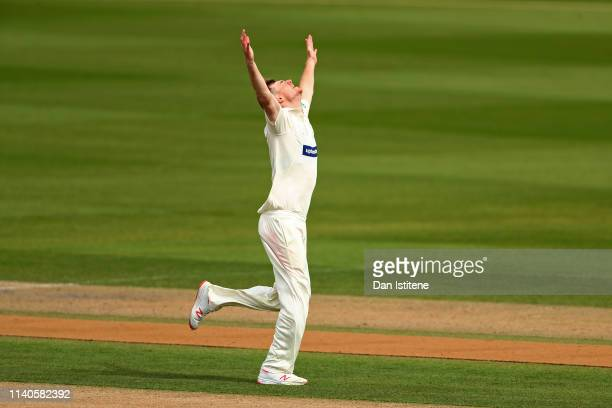 Tom Taylor of Leicestershire celebrates after claiming the wicket of David Weise of Sussex during the Specsavers County Championship Division Two...