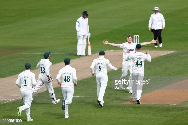 Tom Taylor of Leicestershire celebrates claiming the wicket of Ben Brown of Sussex during the Specsavers County Championship Division Two between...