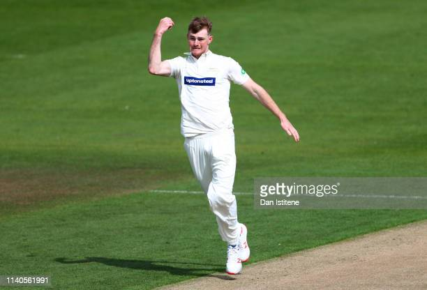 Tom Taylor of Leicestershire celebrates claiming the wicket of Tomm Haines of Sussex during the Specsavers County Championship Division Two between...